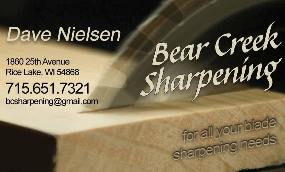 SO Services: Bear Creek Sharpening bcard front